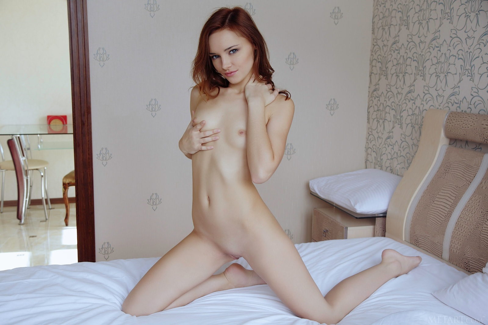nude girl with pigtails spread